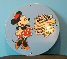 VINTAGE SUNOCO MOTOR OILS PORCELAIN MINNIE MOUSE WALT DISNEY GAS SERVICE SIGN