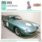 HWM COUPE ABECASSIS 1954 CAR VOITURE Great Britain GRANDE BRETAGNE CARD FICHE