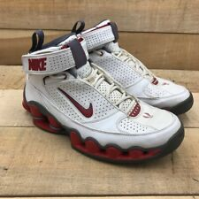 Nike Mens Shox Basketball Shoes White Black 050709 Lace Up Mid Top Hook Loop 9 M