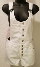 TINSELTOWN WHITE DENIM ROMPER JUMPSUIT OVERALL SHORTS JEANS SIZE S SMALL