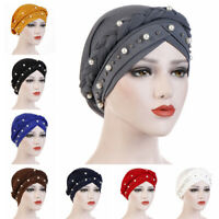 Wrap Hair Loss Head Scarf Muslim Women Turban Cap Cancer Chemo Hat Beads Braid^