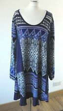 Joe Browns Blue Patchwork Knitted Long Sleeve Quirky Tunic/Dress Size UK 20