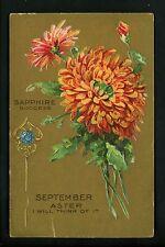 Birthday Month postcard Flower Birthstone September aster sapphire embossed gold