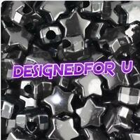 *3 FOR 2* 50 Black Opaque Star Shape 13mm Pony Beads Top Quality Beads