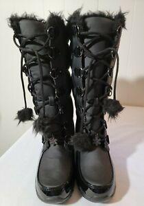 Women's Black Sporto Winter Boots Size 7.5 Brand New Pom-Pom Ties and Snowflake