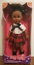 """7"""" My Life As SCHOOL Girl Mini Doll African American Red Black Plaid NEW"""