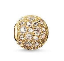 Genuine THOMAS SABO Silver Karma Gold Plated Champayne C/Z Pave Bead K0098 £105