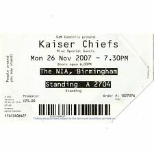 KAISER CHIEFS Concert Ticket Stub BIRMINGHAM UK 11/26/07 NATIONAL INDOOR ARENA