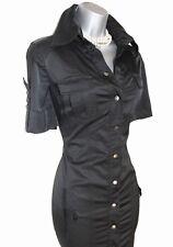 Rare Karen Millen Black Military Safari Trench Shirt Style Office Pencil Dress10