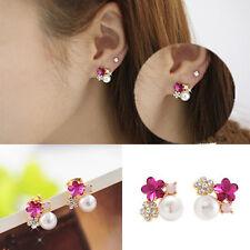 Korean Women Flower Earrings Colorful Crystal Rhinestone Pearl Ear Stud Earrings
