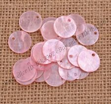 20pcs Pink Flat Round Mother Of Pearl Shell Coin Drop Charm Beads 17MM