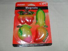 Set of 4 Magnetic Memo Holders/ Refrigerator Magnets Fruit & Vegetable Shape #11