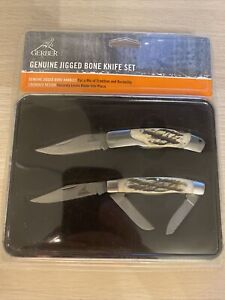 Gerber 2 Piece Genuine Jigged Bone Knife Set