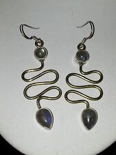 925 STERLING SILVER & BRASS EARRINGS WITH LABRADORITE