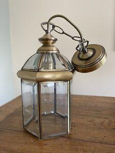 Stunning Vintage Solid Brass Georgian Style Bevelled Glass hall lantern