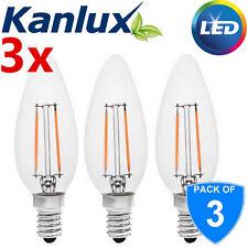 3x Kanlux 2W E14 LED High Lumen Candle Light Bulb Lamp Warm White 2700K A++