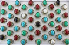 34pcs Natural Stone Rings For Men Fashion Jewelry Mixed Lots Ring Job Lots AH707