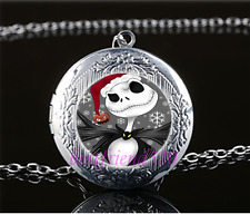Christmas Jack Photo Cabochon Glass Tibet Silver Locket Pendant Necklace