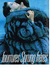 PUBLICITE ADVERTISING 094  1989  les fourrures  SPRUNG FRERES