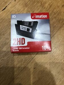 Ten Imation Floppy Disks 1.44MB  2 HD 3.5 Inch Double Sided In Sealed Box
