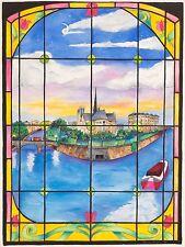 Linnea Pergola - Île de la Cité, watercolor on paper, Framed