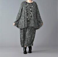 ♦ AKH Fashion Plüsch-Shirt EG 44,46,48,50,52,54, schwarz-grau ♦