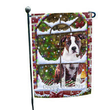 Christmas American Staffordshire Terrier Dog Sitting Garden Flag Gflg53673