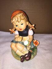 Vintage Enesco Ceramic Hummel Look Girl Mending Sock Figurine