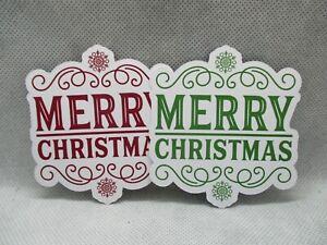 6 PRINTED MERRY CHRISTMAS WITH SNOWFLAKE LABEL DIE CUTS..CARDMAKING..CHRISTMAS