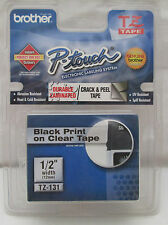"""BROTHER P-TOUCH TZ-131 TAPE Black Print On Clear Tape 1/2"""" width Indoor/Outdoor"""