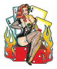 Sexy REDHEAD DICE LADY LUCKY HOTROD Car STICKER/Vinyl RV DECAL viva las vegas!
