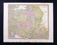 1811 Wallis Map - France - Paris Riviera Seine Rhone
