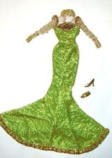 Barbie Ensemble Green Beaded Gown by Bob Mackie For Barbie Doll hf00