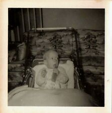 Old Vintage Antique Photograph Baby Eating in His High Chair