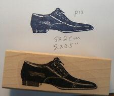 """P12 Victorian shoe rubber stamp 1.6x0.7"""" WM"""
