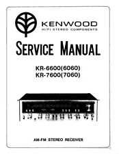 KENWOOD KR-6600 (6060) & KR-7600 (7060) SERVICE MANUAL 26 PGS SAME DAY SHIPPING