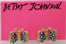 Betsey Johnson Yacht Club Spectator Blue Butterfly Stud Earrings Chicago
