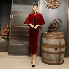 New Elegant Velvet Red Poncho & Long Dress Cheongsam Chinese Qipao lcdress133