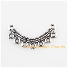 18 New Charms Moon Flower Tibetan Silver Tone Pendants Connectors 13x26mm