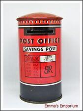 Vintage Post Office Savings Money Box Tin with Fisherman Design