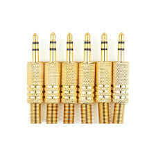 6x Gold-Plated Stereo Male 1/8 3.5mm Jack Plug Audio Adapter Booted Headphone BK