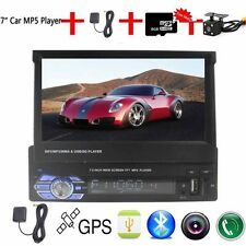 "7"" Single 1 DIN In-Dash Player Stereo Car GPS Sat Nav Camera Radio Bluetooth MP3"