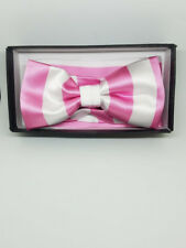 Men's Yellow & White Striped Adjustable Handmade Bow Tie & Pocket-square