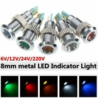 6/12/24/220V 8mm Waterproof LED Panel Indicator Signal Warning Light Lamp