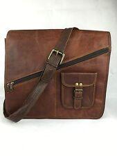 "13x13"" Handmade Real Brown Leather Padded Messenger Bag Satchel Laptop Bag"