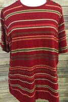 Lauren Ralph Lauren Womens Red Stripe Knit Top Sz 3X Short Sleeve Button Accent
