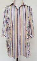 MAGGIE T Colourful Stripe Shirt Size 12