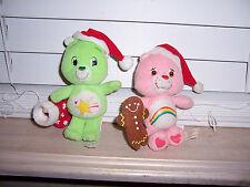 """Lot Of 2 SANTA Care Bears Green OOPSY BEAR Pink CHEER BEAR 5"""" Plush Christmas K"""
