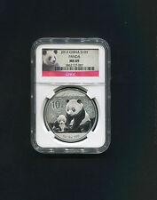 China 2012 10 Yuan Chinese Panda Silver Coin NGC Graded MS69 Panda Label