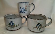 3 OWENS POTTERY MUGS WITH BIRD DECORATION